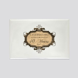 40th Wedding Aniversary (Rustic) Rectangle Magnet