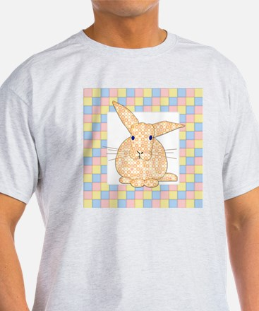 Yellow Calico Bunny on Checkerboard  T-Shirt