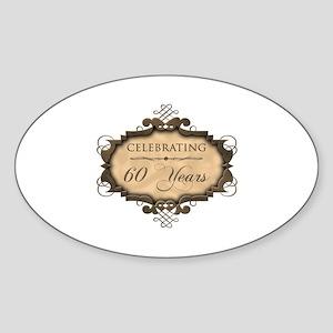 60th Wedding Aniversary (Rustic) Sticker (Oval)