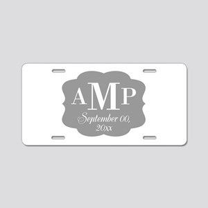 Modern Wedding Monogram Aluminum License Plate