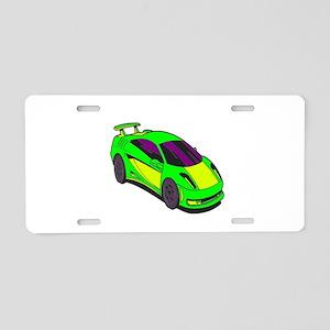 Green Race Car Aluminum License Plate