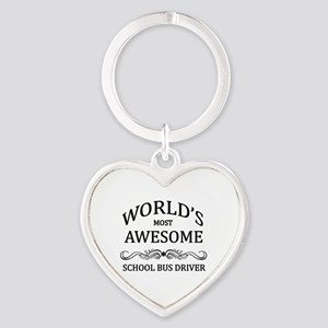 World's Most Awesome School Bus Driver Heart Keych