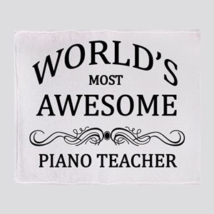 World's Most Awesome Piano Teacher Throw Blanket