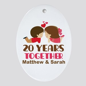 20th Anniversary Personalized Gift Oval Ornament