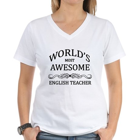 World's Most Awesome English Teacher Women's V-Nec