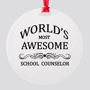 World's Most Awesome School Counselor Round Orname