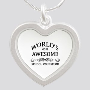 World's Most Awesome School Counselor Silver Heart