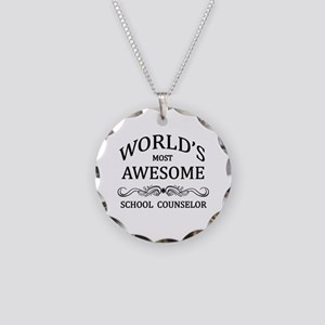 World's Most Awesome School Counselor Necklace Cir