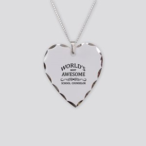World's Most Awesome School Counselor Necklace Hea