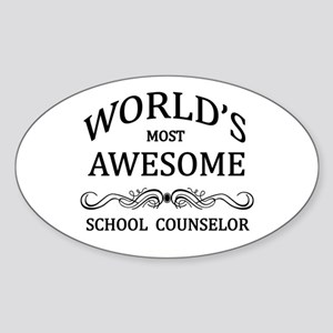 World's Most Awesome School Counselor Sticker (Ova