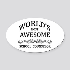 World's Most Awesome School Counselor Oval Car Mag