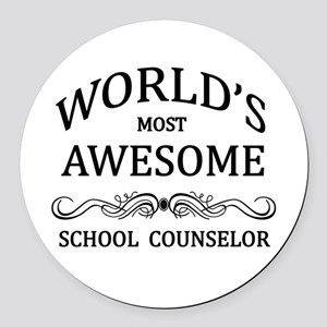 World's Most Awesome School Counselor Round Car Ma