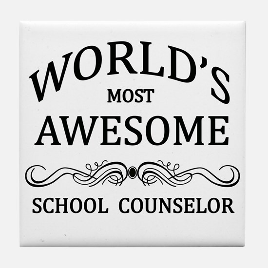 World's Most Awesome School Counselor Tile Coaster