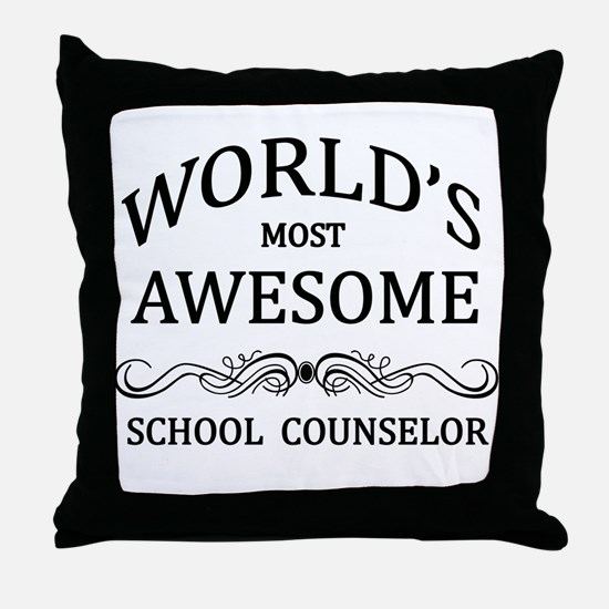 World's Most Awesome School Counselor Throw Pillow