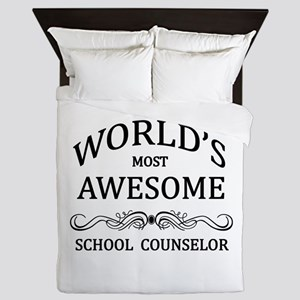 World's Most Awesome School Counselor Queen Duvet