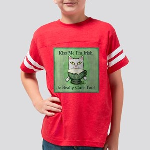 kiss me irish cute cat ART ja Youth Football Shirt