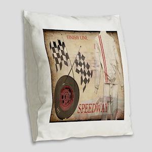 Speedway Burlap Throw Pillow