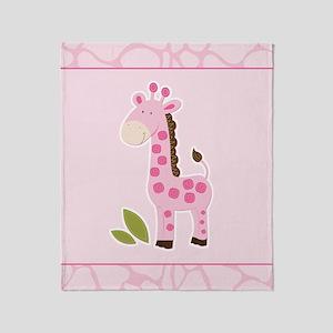 Pink Giraffe with Giraffe Print Throw Blanket
