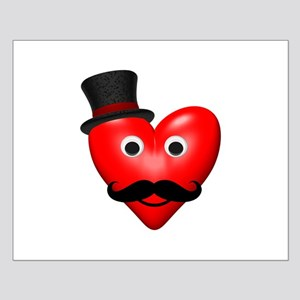 Mustache Love With Tophat Small Poster