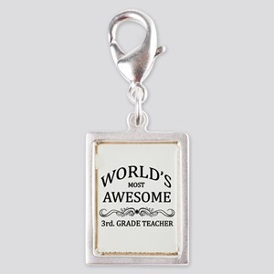 World's Most Awesome 3rd. Grade Teacher Silver Por