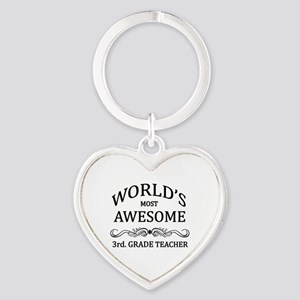 World's Most Awesome 3rd. Grade Teacher Heart Keyc