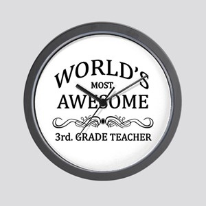 World's Most Awesome 3rd. Grade Teacher Wall Clock