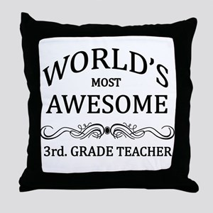 World's Most Awesome 3rd. Grade Teacher Throw Pill