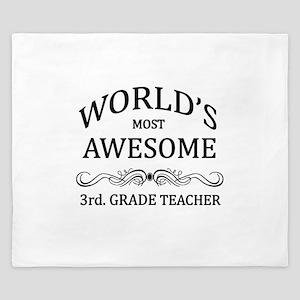 World's Most Awesome 3rd. Grade Teacher King Duvet