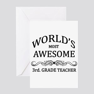 World's Most Awesome 3rd. Grade Teacher Greeting C