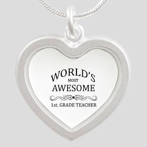 World's Most Awesome 1st. Grade Teacher Silver Hea