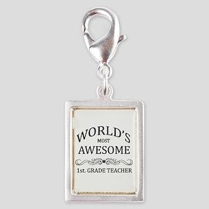 World's Most Awesome 1st. Grade Teacher Silver Por