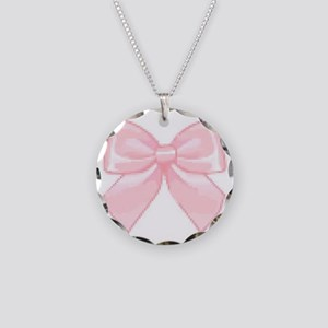 Girly Bow Necklace Circle Charm