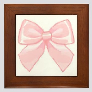 Girly Bow Framed Tile