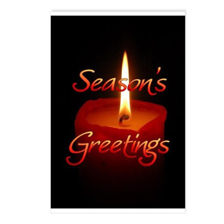 Season's Greetings - Red Candle Postcards (Package