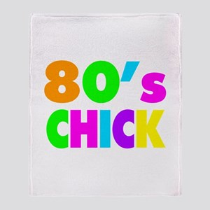Neon Colors 80's Chick Throw Blanket