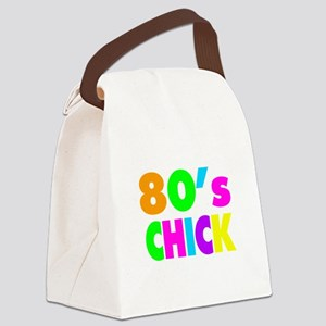 Neon Colors 80's Chick Canvas Lunch Bag