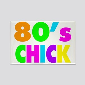 Neon Colors 80's Chick Rectangle Magnet