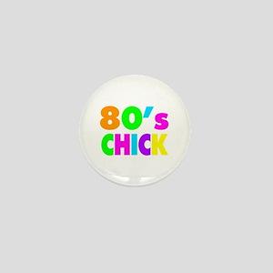 Neon Colors 80's Chick Mini Button