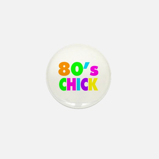 Neon Colors 80's Chick Mini Button