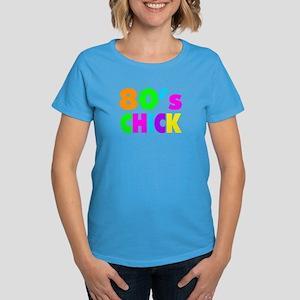 Neon Colors 80's Chick Women's Dark T-Shirt