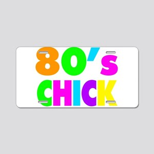 Neon Colors 80's Chick Aluminum License Plate