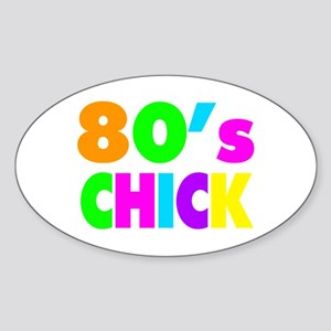 Neon Colors 80's Chick Sticker (Oval)