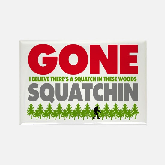 Bigfoot Hiding In Woods Gone Squatchin Rectangle M