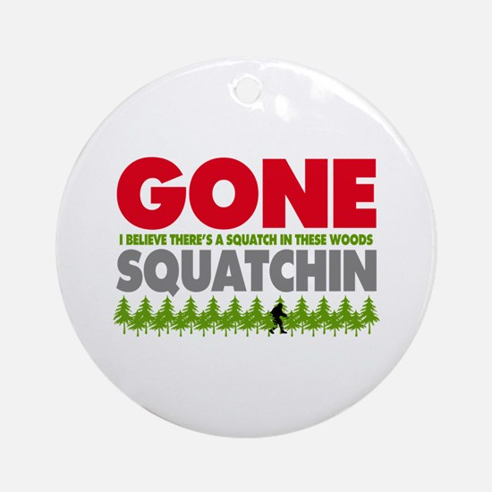 Bigfoot Hiding In Woods Gone Squatchin Ornament (R