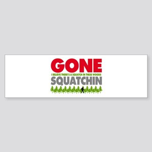 Bigfoot Hiding In Woods Gone Squatchin Sticker (Bu