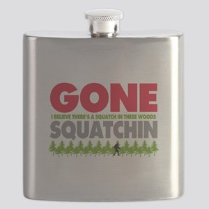 Bigfoot Hiding In Woods Gone Squatchin Flask