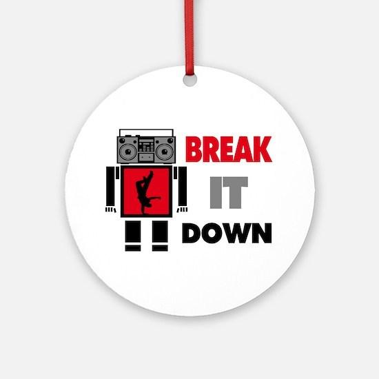 B Boy Boombox Robot Break It Down Ornament (Round)