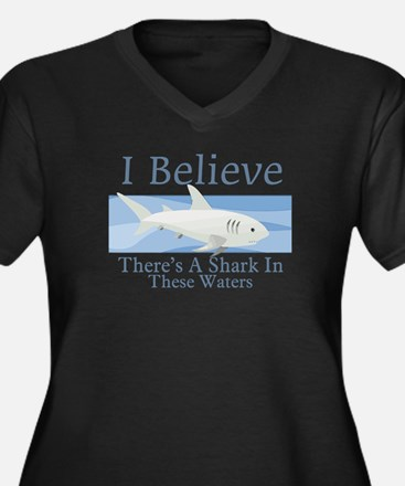 Shark In These Waters Women's Plus Size V-Neck Dar