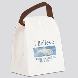 Shark In These Waters Canvas Lunch Bag
