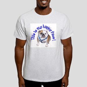 English Bulldog Happy Face Ash Grey T-Shirt